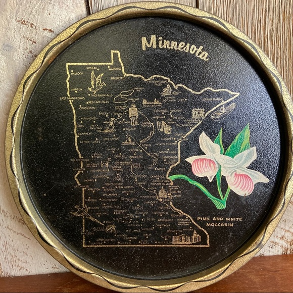 Vintage Other - Minnesota Round Metal Serving Tray Landmarks